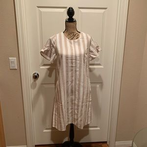 Tan and cream dress with short flutter sleeves